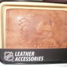 Calgary Flames Pecan Leather Trifold Wallet