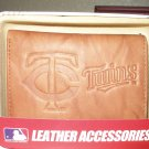 Minnesota Twins Pecan Leather Trifold Wallet
