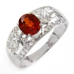 1.89 Carat Orange Sapphire & Diamond Ring