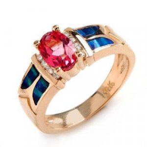 1.12 Carat Pink Topaz, Opal & Diamond Ring