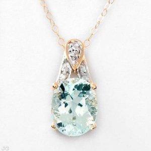 2.11 Carat Aquamarine & Diamond Pendant