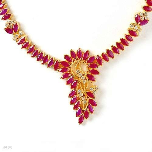 13.32 Carat Ruby & Diamond Necklace and Earring Set