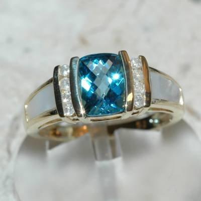 1.37 Carat Topaz, Mother of Pearl & Diamond Ring