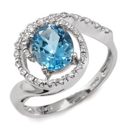 2.37 Carat Blue Topaz & Diamond Ring