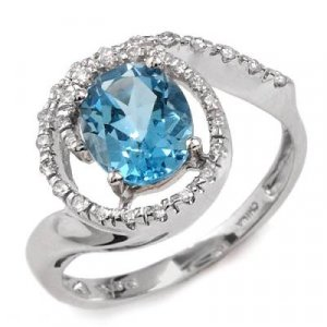 2.37 Carat Blue Topaz & Diamond Ring