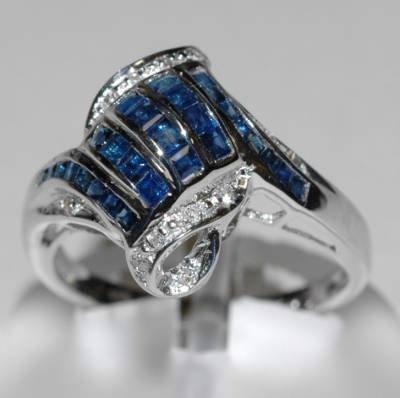 1.49 Carat Genuine Ceylon Sapphire & Diamond Ring