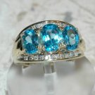 3.72 Carat Blue Topaz & Diamond Ring