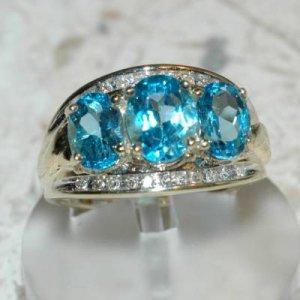 3.72 Carat Blue Topaz & Diamond Ring