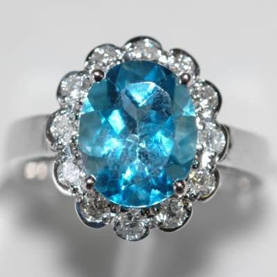 3.45 Carat Blue Topaz & Diamond Ring