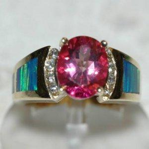2.85 Carat Pink Topaz, Diamond & Opal Ring