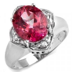 4.66 Carat Pink Topaz & Diamond Ring
