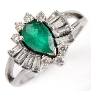 1.38 Carat Emerald & Diamond Ring