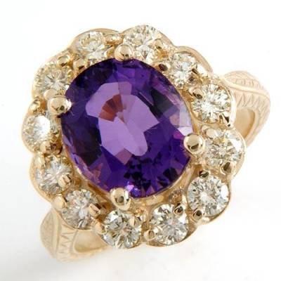 5.17 Carat Amethyst & Diamond Ring