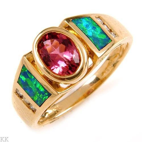 0.76 Carat Tourmaline, Opal & Diamond Ring
