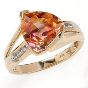 4.56 Carat Rainbow Topaz & Diamond Ring