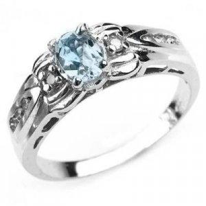 0.62 Carat Aquamarine & Diamond Ring