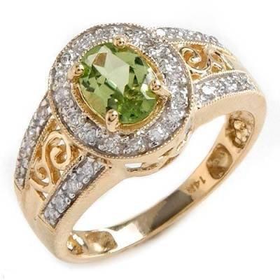 1.0 Carat Peridot & Diamond Ring