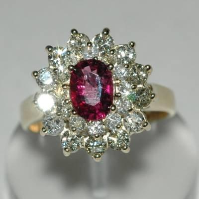 2.36 Carat Pink Tourmaline & Diamond Ring