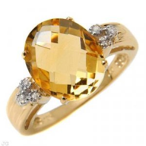 4.31 Carat Citrine & Diamond Ring