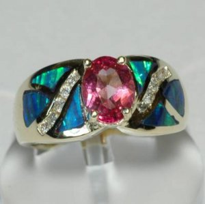 1.74 Carat Pink Topaz, Opal, & Diamond Ring