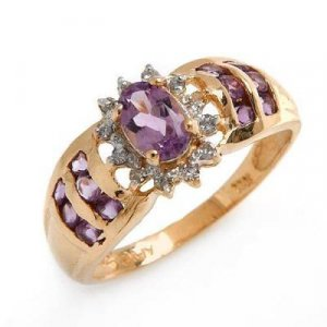 0.96 Carat Amethyst & Diamond Ring