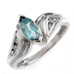 0.65 Carat Aqua Topaz & Diamond Ring