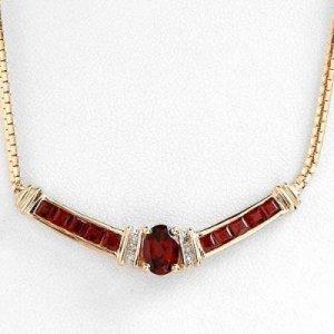2.48 Carat Garnet & Diamond Necklace