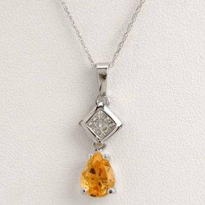 0.83 Carat Citrine & Diamond Necklace