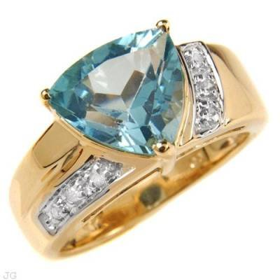 3.53 Carat Blue Topaz & Diamond Ring