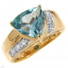 3.53 Carat Blue Topaz & Diamond Ring
