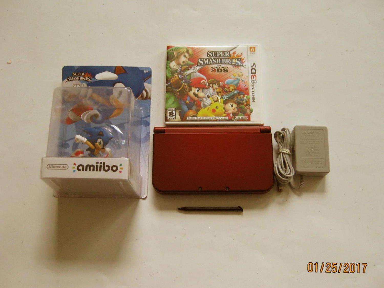 Red Nintendo New 3ds xl w Super Smash Bros & More!!!