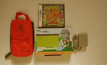 Excellent Lime  Nintendo New 3ds xl  w Mario World, Moshi   & More!!!