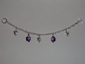 Butterfly Charm Bracelet: Purple