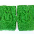 Knit Boot Cuffs Green OWL Boot Socks Boot Topper Leg