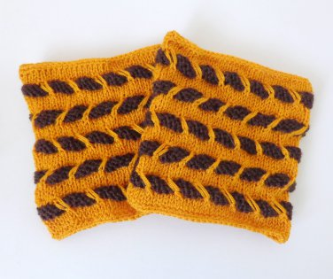 Knit Boot Cuffs Striped Boot Socks Boot Topper Leg Brown and Orange