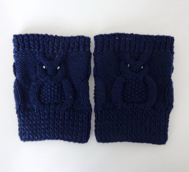 Knit Boot Cuffs Navy Blue OWL Boot Socks Boot Topper Leg