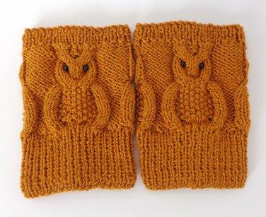 Knit Boot Cuffs Brown OWL Boot Socks Boot Topper Leg