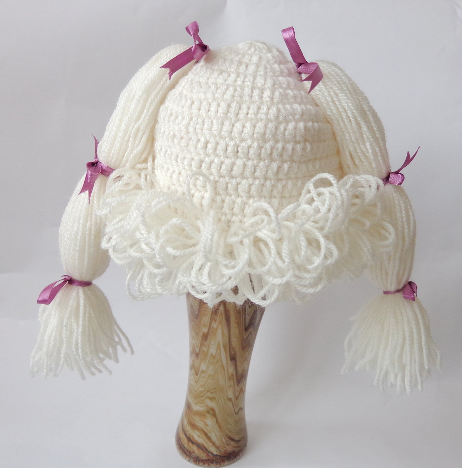 Cabbage Patch Kid Hat Inspired Crochet Wig Bunch Pigtail Style