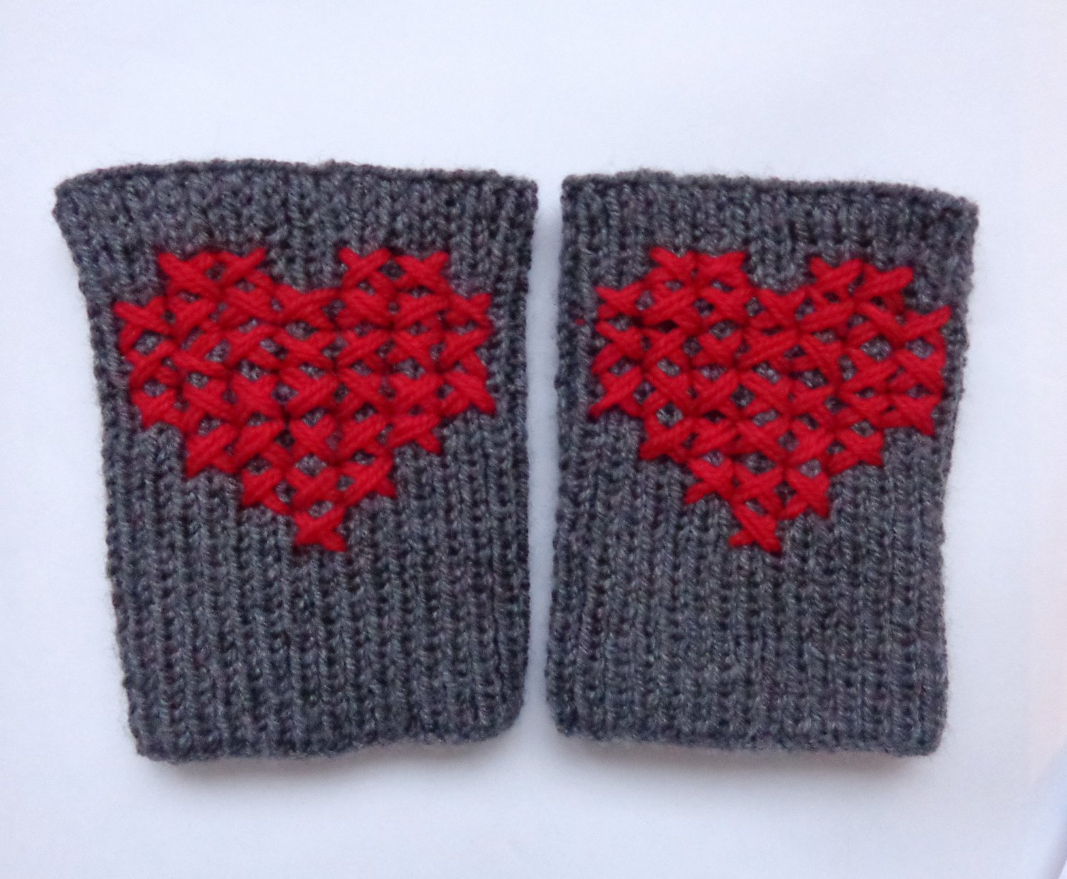 Cross-Stitch Valentine Knitted Boot Cuffs With Red Heart Socks Boot Topper Leg Grey