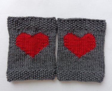 Valentine Knitted Boot Cuffs With Plain Red Heart Socks Boot Topper Leg