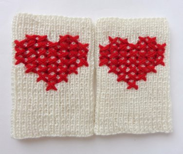 Cross-Stitch Valentine Knitted Boot Cuffs With Red Heart Socks Boot Topper Leg Black