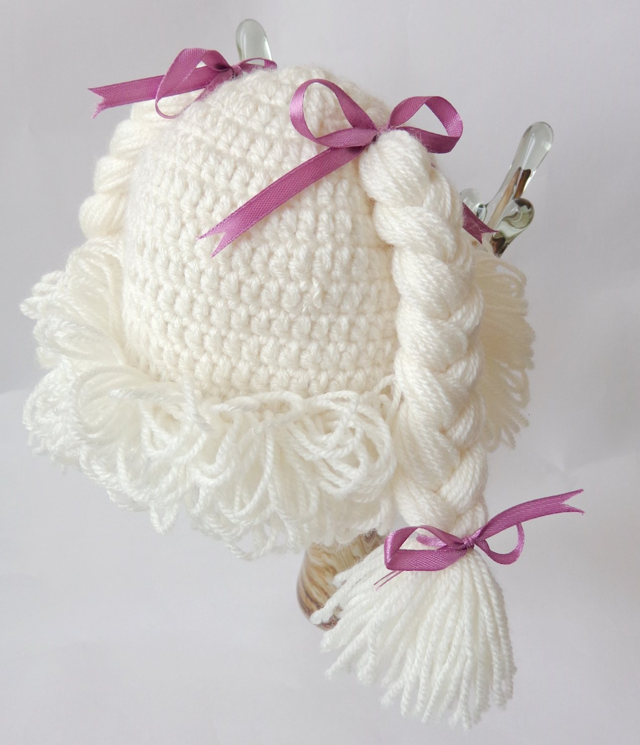 Cabbage Patch Kid Hat White Crochet Wig Braid Pigtail Style 3-10 years