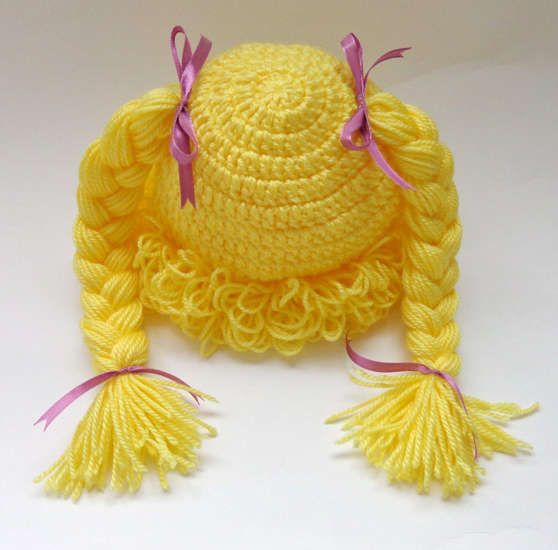 Cabbage Patch Kid Hat Yellow Crochet Wig Braid Pigtail Style Newborn -3 months