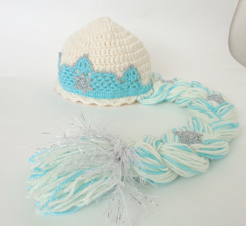 Elsa Frozen Crochet Hat With Crown - Disney Princess Queen Hat Crochet Wig - 3-6 months