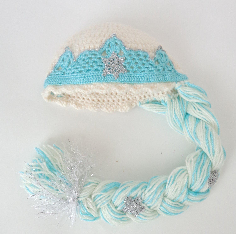 Elsa Frozen Crochet Hat With Crown - Disney Princess Queen Hat Crochet Wig - 3-10 years