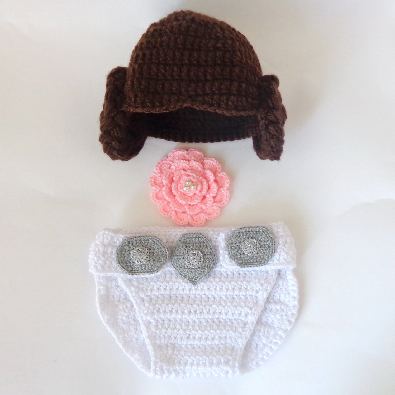 Princess Leia Baby Hat And Diaper Cover Set From Star Wars For Girl With Big Flower Newborn -3 month