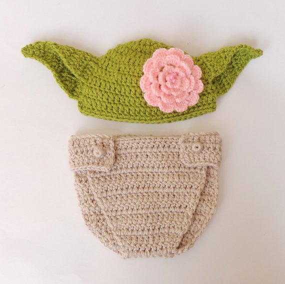 Yoda Baby Hat and Diaper Cover From Star Wars For Girl With Big Flower 3-6 months