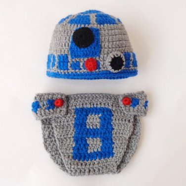 R2D2 Hat And Diaper Cover From Star Wars Halloween 6-12 months