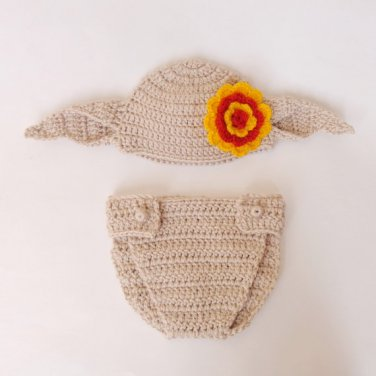 Dobby The House Elf Hat And Diaper Cover From Harry Potter For Girl 3-6 months