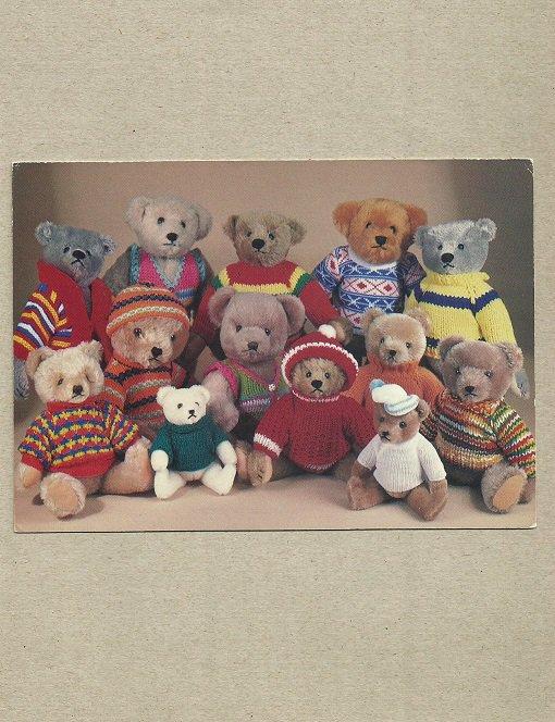 TEDDY BEAR POSTCARD SHOWING BEARS FROM STEIFF HERMANN AND GRAHAM GRIDLEY